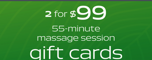 Banner Image for Two $55 Minute Massage Gift Cards For $99 (Now Available For Preorder)