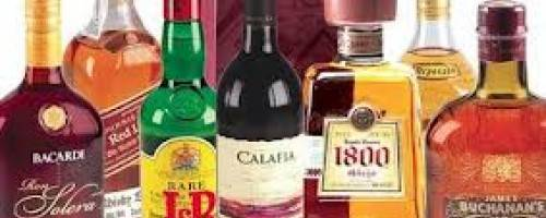 Picture of various types of alcohol bottles, different brands, different shares and sizes