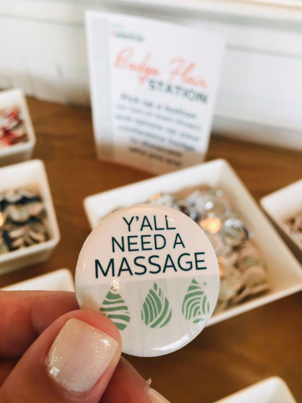 A button that says y'all need a massage
