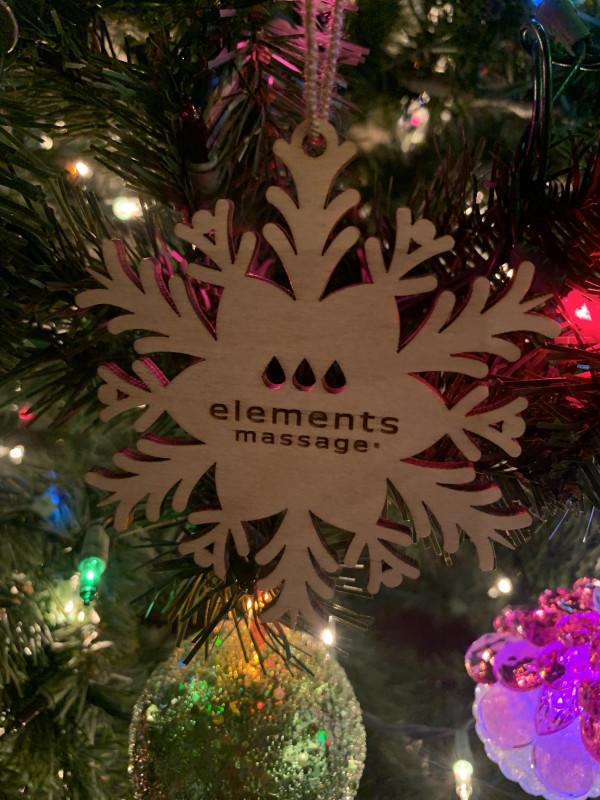 elements massage snowflake ornament