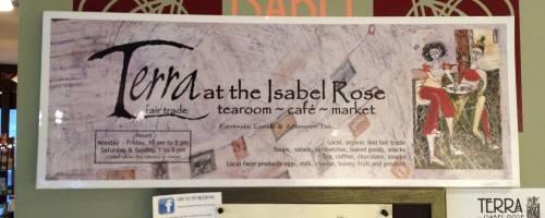 Terra Tea Salon banner and community bulletin board